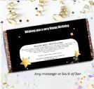 Personalised Black & Gold Stars Happy Birthday 110g Chocolate Bar - Gift N109